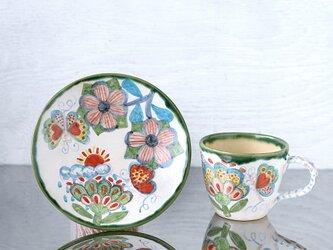 花と蝶絵のマグカップ&プレートⅡの画像