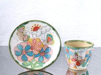 花と蝶絵のカップ&プレートの画像