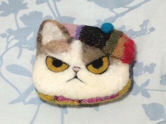 ポーチ※ベレー帽の三毛猫の画像