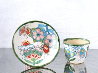 花と蝶絵のカップ&プレートⅡの画像