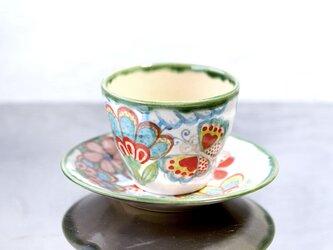 花と蝶絵のカップ&プレート(艶あり)の画像