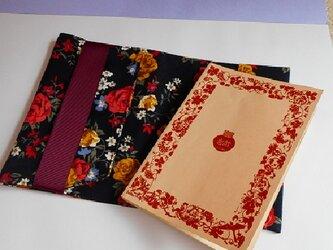 布ブックカバー(文庫サイズ・黒赤ローズ)お薬手帳・ミニノートの画像