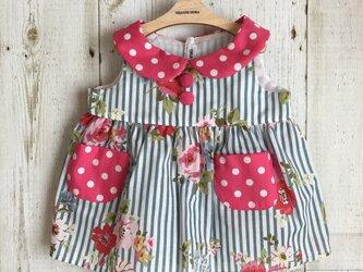 ダッフィーサイズのお洋服 ノンスリーブワンピース(花×水玉)の画像