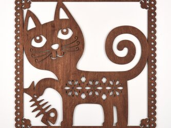 ビッグウッドフレーム「おちゃめ猫」(木の壁飾り)の画像
