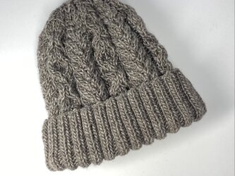 アラン模様のニット帽 チャコールグレーの画像