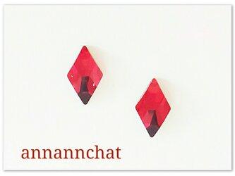 【スワロフスキー 赤 の  ダイヤ(菱形) 小さいピアス】四角形 トランプの画像