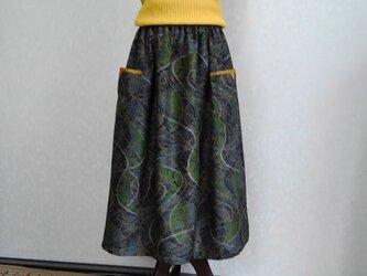 着物リメイク♪十日町紬のポケット付スカート(裏地付き)丈78cmの画像