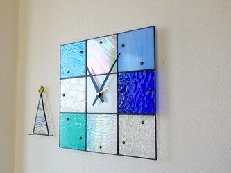 【30㎝×30㎝】ステンドグラス*掛時計・モザイク30(ブルー系)の画像