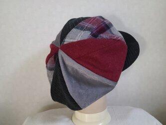 魅せる帽子☆新色♪ふんわり大きめグラデーションキャスケット~ボルドー&モノトーンの画像