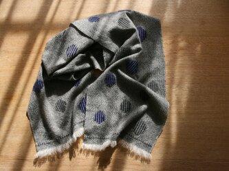 カシミヤの手織りマフラー(バブル×グレー)の画像