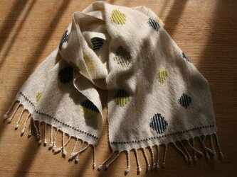 【petit】カシミヤの手織りマフラー(バブル×マルチカラー)の画像