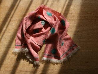 【petit】カシミヤの手織りマフラー(バブル×ピンク)の画像