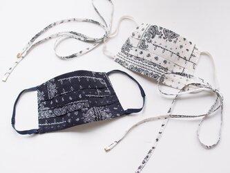 【リボン有り】 ペイズリー サテンジャガード マスク 裏:シルク100% 春 リボンマスク ホワイトデー お揃い ペアルックの画像
