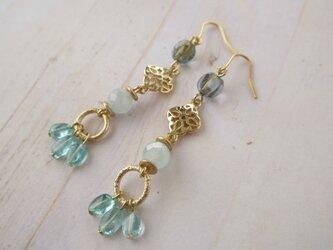 金具変更OK Pierces or Earrings アパタイト アクアマリン(P0961)の画像