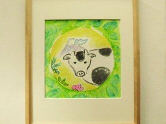 絵画 インテリア 額絵 墨と水彩のコラボ画 干支 丑の画像