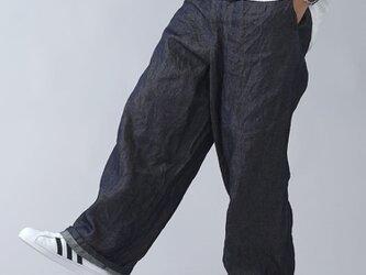 【wafu】厚地 岡山の上質リネンデニム ドカンパンツ ワイドパンツ/ダークインディゴ b018b-din3-mの画像