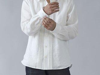 【wafu】【Mサイズ】やや薄 国内織り超高密度リネン ピンタック シャツ /ホワイトt032k-wht1の画像