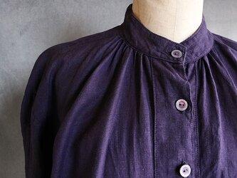 草木染フロントギャザーワンピ紫の画像