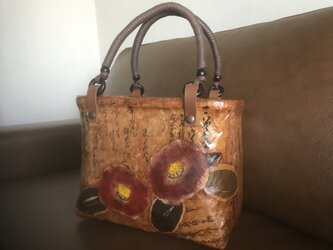 一閑張りのバッグ(椿柄 赤)の画像