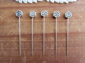 シルバーメタル小さなお花ビーズの待ち針 5本セットの画像