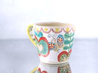 緑のリンゴと蝶絵のマグカップ(L)の画像