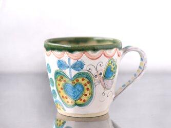 青いリンゴと蝶絵のマグカップ(L)の画像