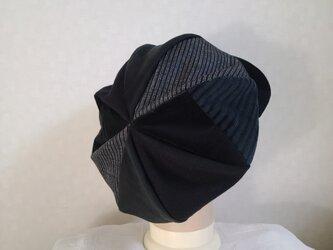 魅せる帽子☆ふんわり♪大きめグラデーションキャスケット~ブラックの画像