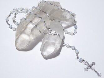 オパールセントガラスビーズのロザリオの画像