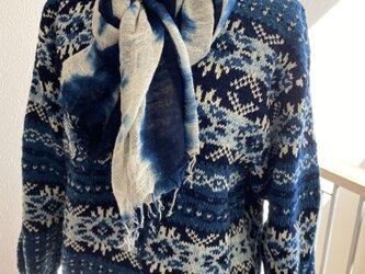 藍染め 編み込み模様 セーターの画像