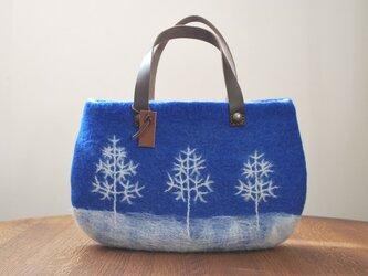 羊毛フェルトバッグ/冬の日(ブルー)の画像