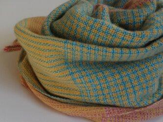 「Mさまご依頼品」手織りカシミアストール・・バーブシュカ(ブルー×ピンク)の画像