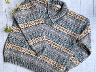 フェアアイル 縞模様襟付きセーターの画像