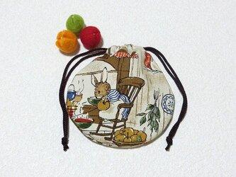 ミニ巾着 ウサギのおうち カントリー調 小物収納 プレゼントに ギフトラッピング素材としてもの画像