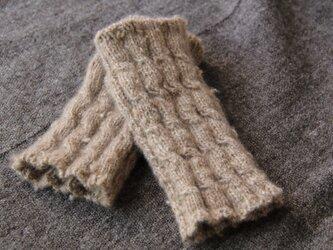手紡ぎ・手編み カシミヤハンドウォーマー ナチュラルカラーの画像