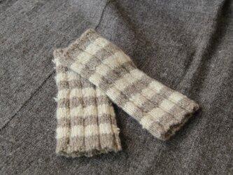 【再販・受注制作】手紡ぎ・手編み カシミヤハンドウォーマー ナチュラルカラーの画像