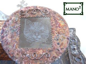アンティーク風手鏡(ねこ)の画像