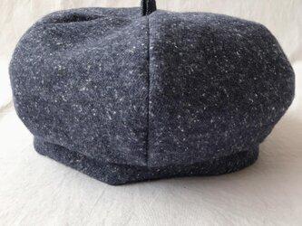 【送料無料】三毛猫屋のベレー帽:M(ふかふかネップ:ネイビー)の画像