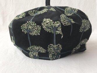 【送料無料】三毛猫屋のベレー帽:L(森A:ブラック)の画像