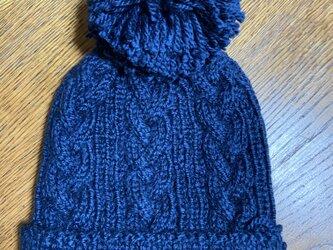 SALE‼️ボンボンニット帽(ネイビー)の画像
