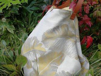 ゴールデン フェザー ラウンド トートバッグ いっさいがっさいまるっとバッグ 革持ち手☆ 国内から発送の画像