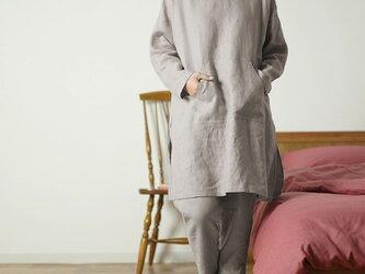 【Lサイズ】中厚リネン フード付き 上下セット ルームウェア パジャマ /アッシュパール r014a-asp2-lの画像