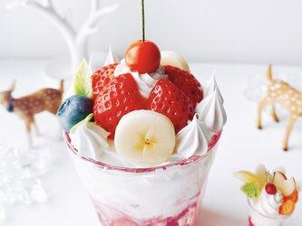 真っ赤な苺のグラスパフェ strawberry オブジェ   フェイクスイーツの画像