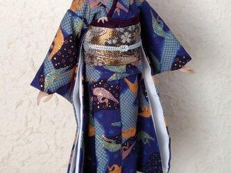 「紺碧の空に舞う」27cmドール着物の画像