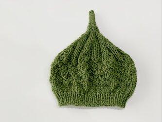 数量限定!ウールどんぐりニット帽子 新作  オリーブの画像