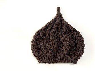 数量限定!ウールどんぐりニット帽子 新作  ブラウンの画像
