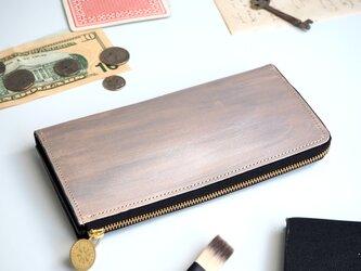 L字ファスナー長財布(ペイント シルバー) レディース メンズの画像