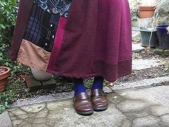優しいおとなのロングスカート☆ワイン色の木綿に古布パッチして♪80㎝丈の画像