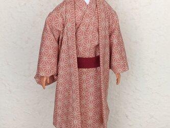 「麻の葉…紅桜」30cm男子ドール着物と羽織りの画像
