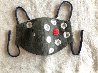 honakana 手刺繍マスク -ドット柄・カーキ-の画像