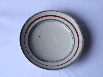 灰釉絵付リム七寸皿(二色、ふぞろい)の画像